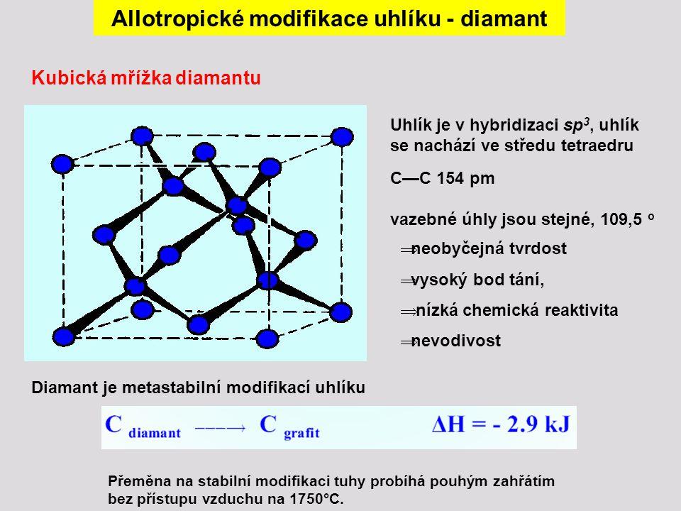  krystalová soustava je kubická  nacházené diamanty tvoří obvykle dobře vyvinuté osmistěny  čisté diamanty slouží po vybroušení do briliantového tvaru pro svůj vysoký index lomu (2,42) a tvrdost jako drahokamy  hmotnost diamantů je udávána v karátech (1 karát = 0,2 g)  neprůhledné či černé diamanty (bort), eventuálně diamanty vyrobené uměle se používají jako brusný materiál  syntetické diamanty se vyrábějí z grafitu rozpuštěného v roztaveném kovu (nikl, kobalt) za vysokých teplot a tlaků (2000 - 3000 °C, 10 GPa)  chemická reaktivita diamantů je nízká, shoří teprve zahřátím na 930 °C  silnými oxidačními činidly (tavení s KNO 3, konc.