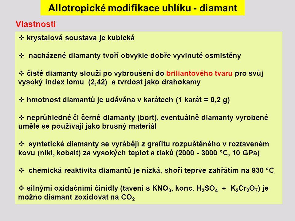Allotropické modifikace uhlíku – sklovitý uhlík a uhlí Sklovitý uhlík (amorfní modifikace) se získává řízeným termickým rozkladem některých polymerů (polyakryláty) a má použití v elektrochemii.