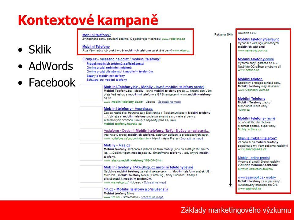 12 Základy marketingového výzkumu Kontextové kampaně Sklik AdWords Facebook
