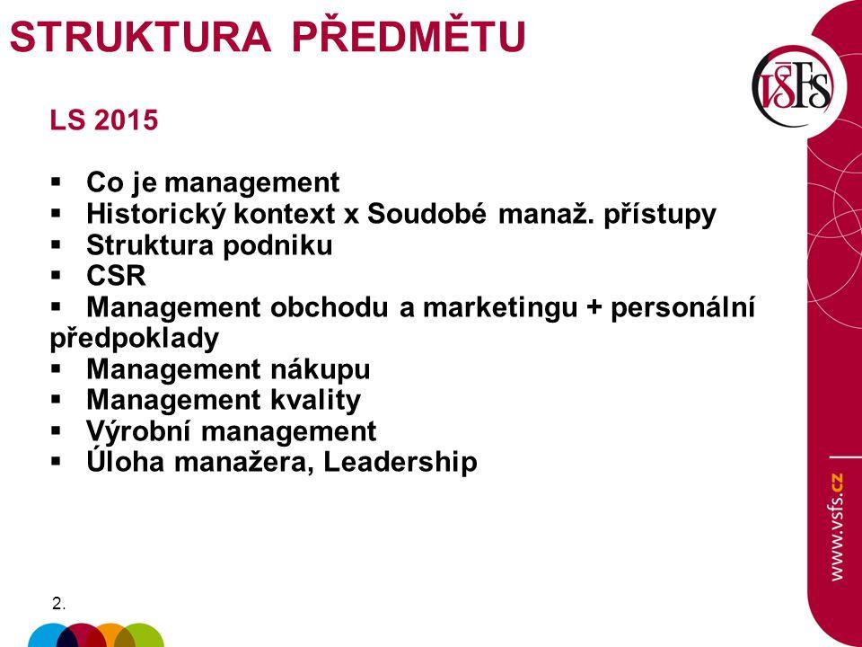 2.2. LS 2015  Co je management  Historický kontext x Soudobé manaž. přístupy  Struktura podniku  CSR  Management obchodu a marketingu + personáln
