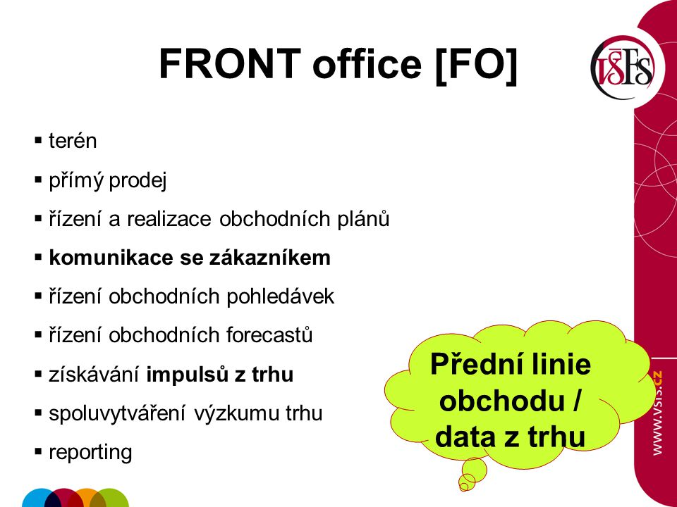 FRONT office [FO]  terén  přímý prodej  řízení a realizace obchodních plánů  komunikace se zákazníkem  řízení obchodních pohledávek  řízení obchodních forecastů  získávání impulsů z trhu  spoluvytváření výzkumu trhu  reporting Přední linie obchodu / data z trhu
