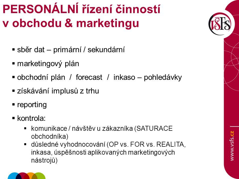 PERSONÁLNÍ řízení činností v obchodu & marketingu  sběr dat – primární / sekundární  marketingový plán  obchodní plán / forecast / inkaso – pohledá