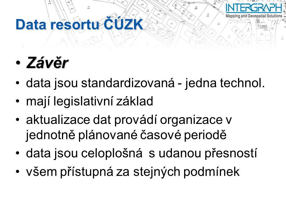 Data resortu ČÚZK ZávěrZávěr data jsou standardizovaná - jedna technol.