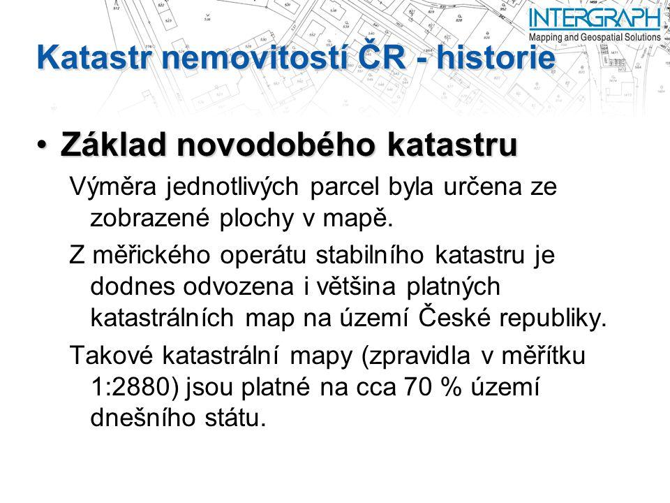 Katastr nemovitostí ČR - historie Základ novodobého katastruZáklad novodobého katastru Výměra jednotlivých parcel byla určena ze zobrazené plochy v mapě.