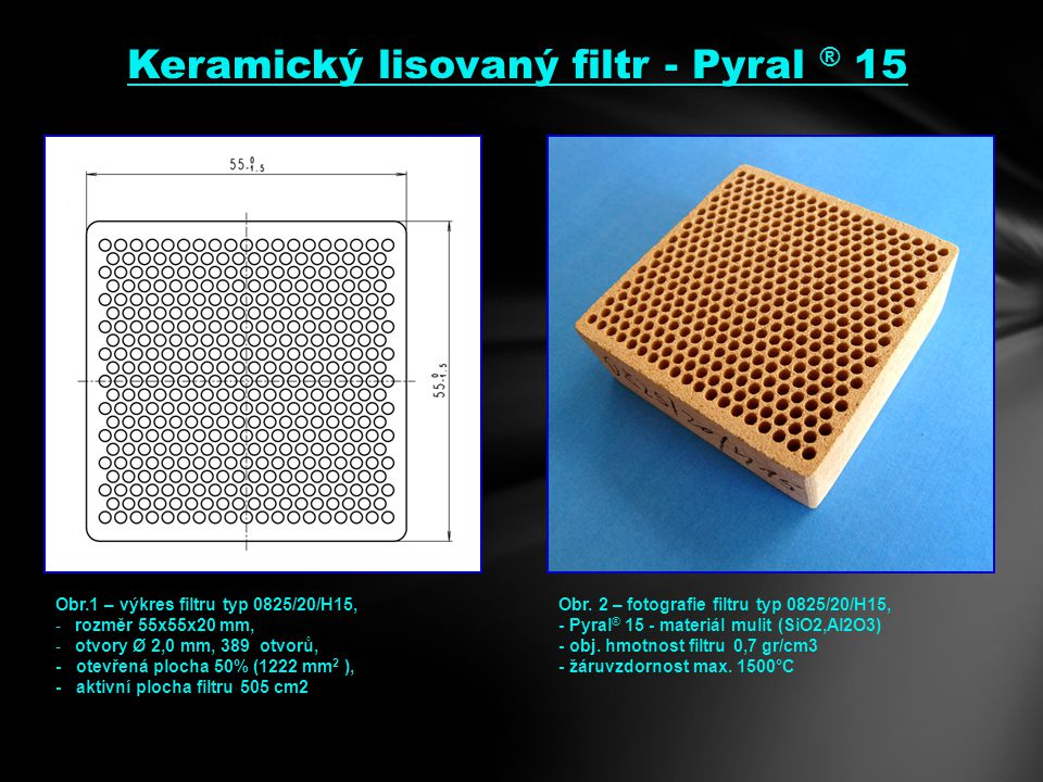 Obr.1 – výkres filtru typ 0825/20/H15, -rozměr 55x55x20 mm, -otvory Ø 2,0 mm, 389 otvorů, - otevřená plocha 50% (1222 mm 2 ), - aktivní plocha filtru 505 cm2 Obr.
