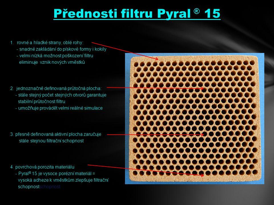 Přednosti filtru Pyral ® 15 1.rovné a hladké strany, oblé rohy: - snadné zakládání do pískové formy i kokily - velmi nízká možnost poškození filtru eliminuje vznik nových vměstků 2.