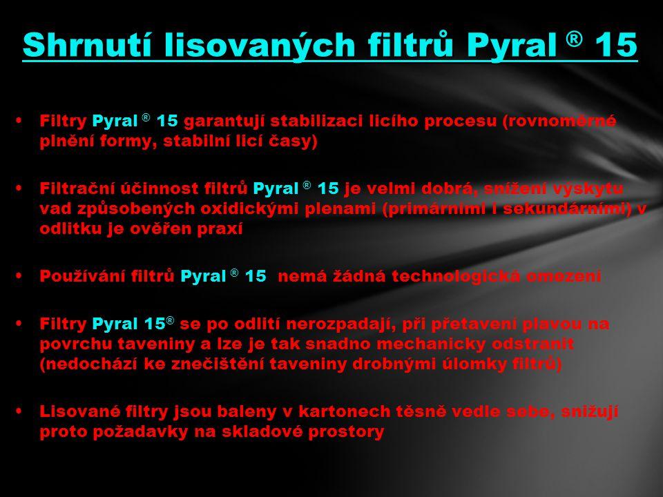 Shrnutí lisovaných filtrů Pyral ® 15 Filtry Pyral ® 15 garantují stabilizaci licího procesu (rovnoměrné plnění formy, stabilní licí časy) Filtrační účinnost filtrů Pyral ® 15 je velmi dobrá, snížení výskytu vad způsobených oxidickými plenami (primárními i sekundárními) v odlitku je ověřen praxí Používání filtrů Pyral ® 15 nemá žádná technologická omezení Filtry Pyral 15 ® se po odlití nerozpadají, při přetavení plavou na povrchu taveniny a lze je tak snadno mechanicky odstranit (nedochází ke znečištění taveniny drobnými úlomky filtrů) Lisované filtry jsou baleny v kartonech těsně vedle sebe, snižují proto požadavky na skladové prostory