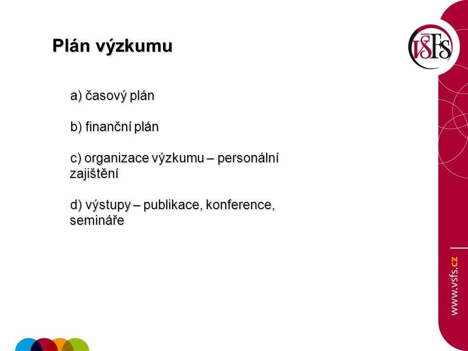Plán výzkumu a) časový plán a) časový plán b) finanční plán b) finanční plán c) organizace výzkumu – personální zajištění c) organizace výzkumu – pers