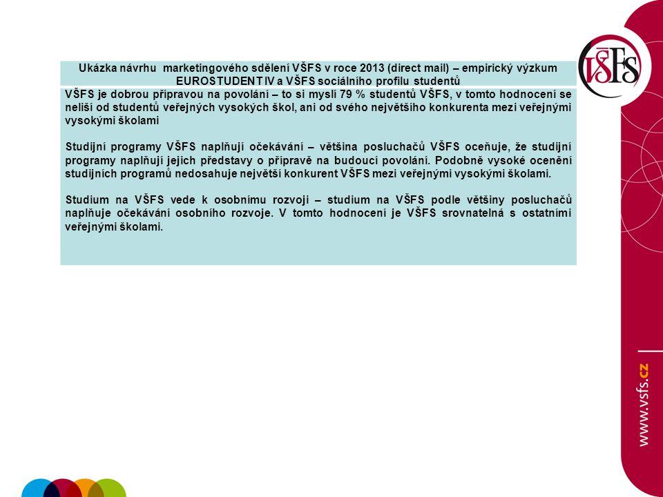 Ukázka návrhu marketingového sdělení VŠFS v roce 2013 (direct mail) – empirický výzkum EUROSTUDENT IV a VŠFS sociálního profilu studentů VŠFS je dobro