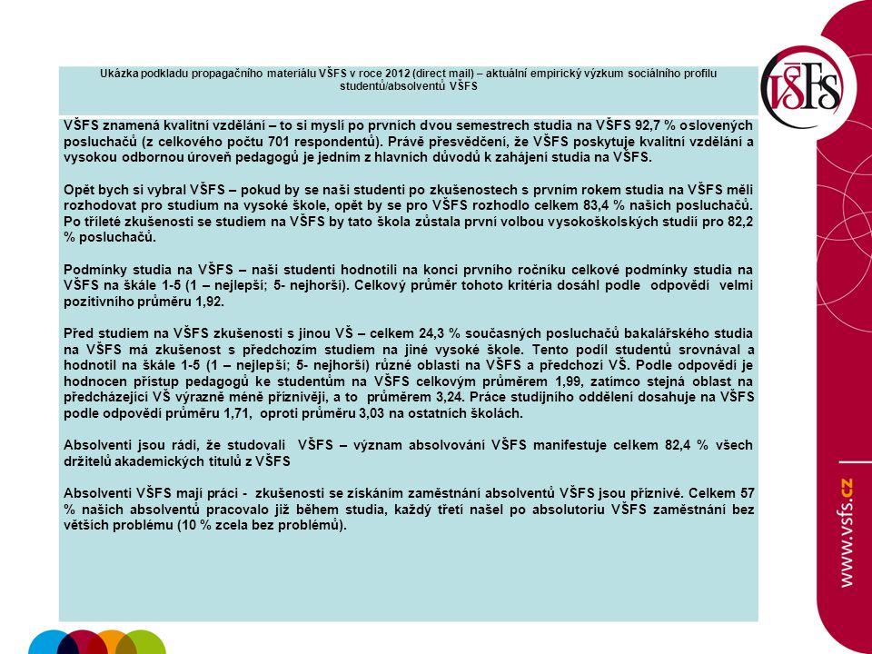 Ukázka podkladu propagačního materiálu VŠFS v roce 2012 (direct mail) – aktuální empirický výzkum sociálního profilu studentů/absolventů VŠFS VŠFS zna