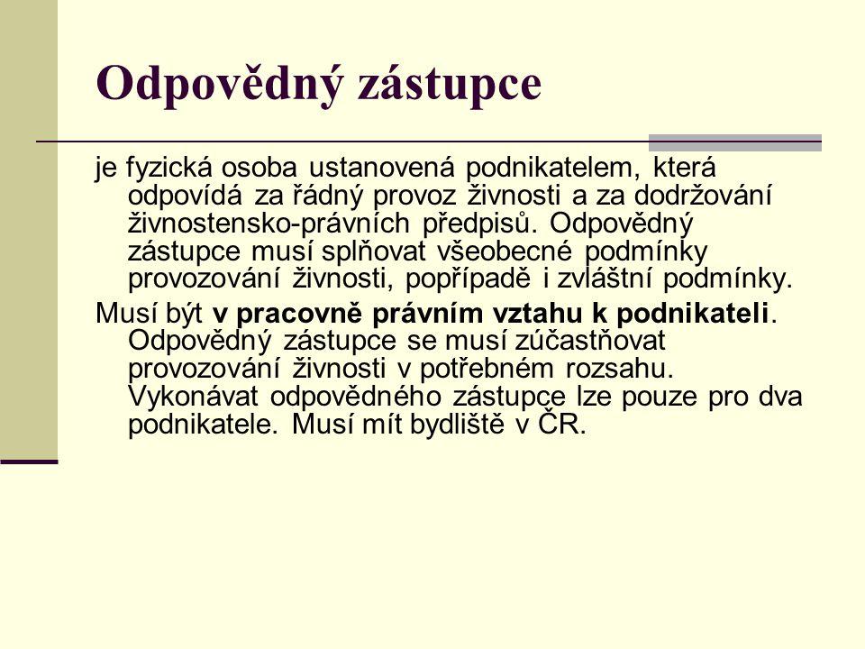 Odpovědného zástupce je povinen ustanovit: podnikatel, který nesplňuje zvláštní podmínky, podnikatel, který je zahraniční osobou fyzickou a nemá na území ČR povolen pobyt, podnikatel, který je právnickou osobou se sídlem v ČR.