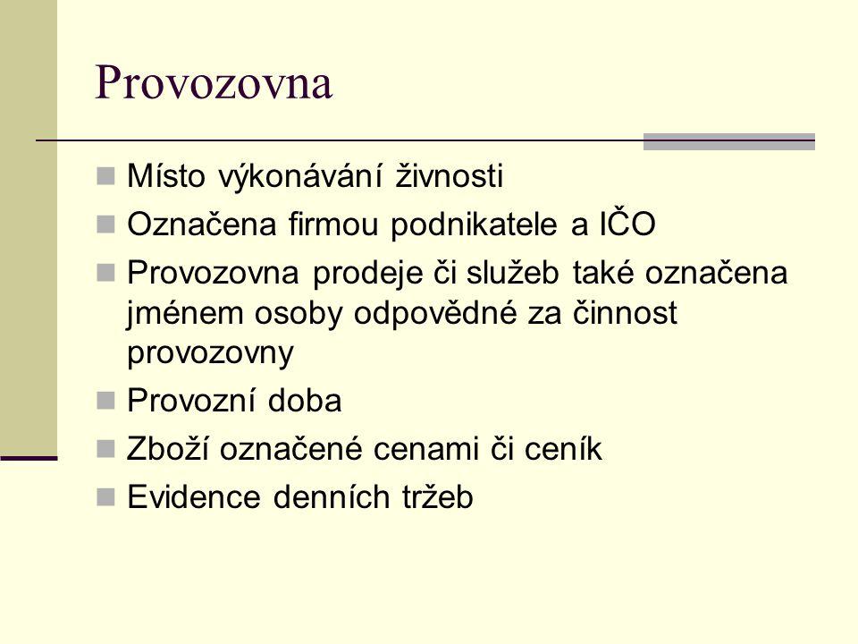 Doklady prokazující způsob nabytí zboží Přítomna osoba znalá češtiny Inspekční kniha Podnikatel odpovídá za dodržování hygienických a bezpečnostních předpisů