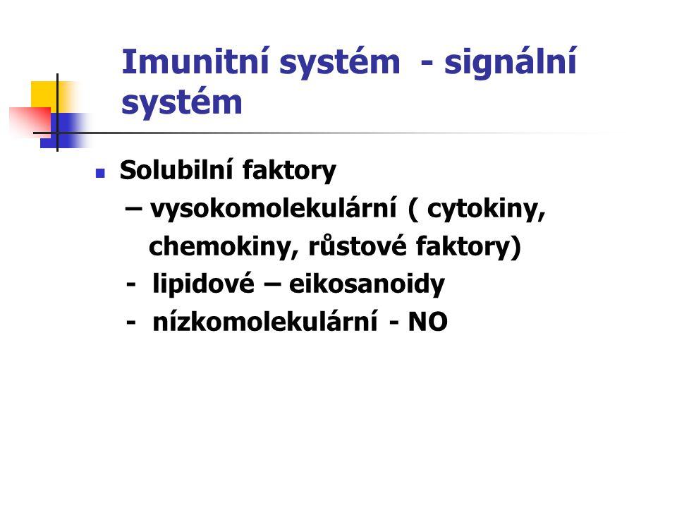 Imunitní systém - signální systém Solubilní faktory – vysokomolekulární ( cytokiny, chemokiny, růstové faktory) - lipidové – eikosanoidy - nízkomolekulární - NO