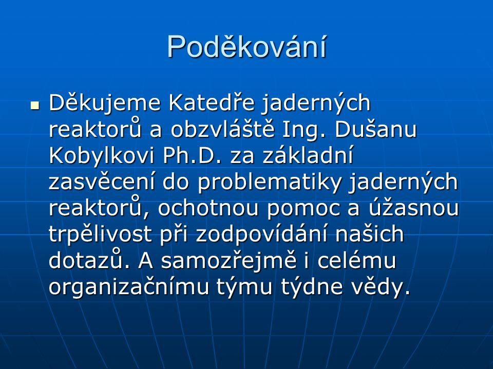 Poděkování Děkujeme Katedře jaderných reaktorů a obzvláště Ing. Dušanu Kobylkovi Ph.D. za základní zasvěcení do problematiky jaderných reaktorů, ochot