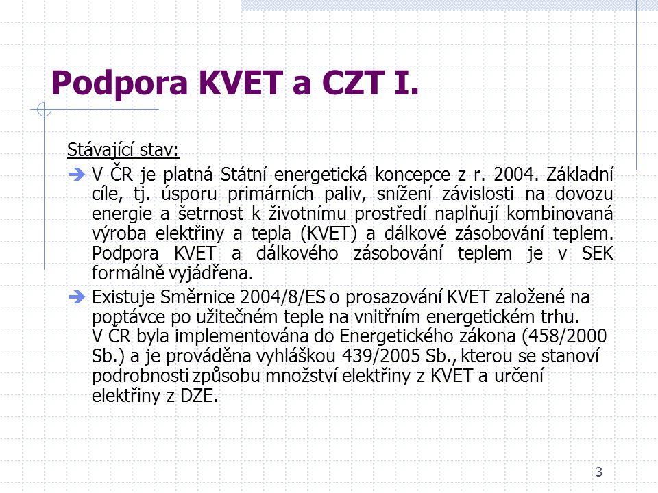 3 Podpora KVET a CZT I. Stávající stav:  V ČR je platná Státní energetická koncepce z r.