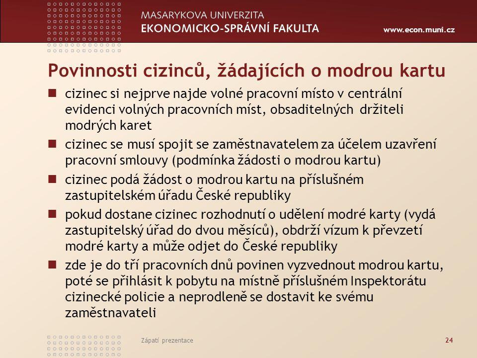 www.econ.muni.cz Povinnosti cizinců, žádajících o modrou kartu cizinec si nejprve najde volné pracovní místo v centrální evidenci volných pracovních m