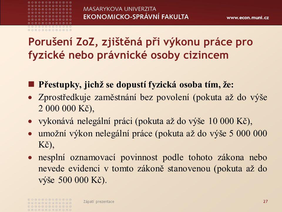 www.econ.muni.cz Porušení ZoZ, zjištěná při výkonu práce pro fyzické nebo právnické osoby cizincem Přestupky, jichž se dopustí fyzická osoba tím, že: