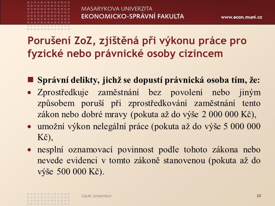 www.econ.muni.cz Porušení ZoZ, zjištěná při výkonu práce pro fyzické nebo právnické osoby cizincem Správní delikty, jichž se dopustí právnická osoba t