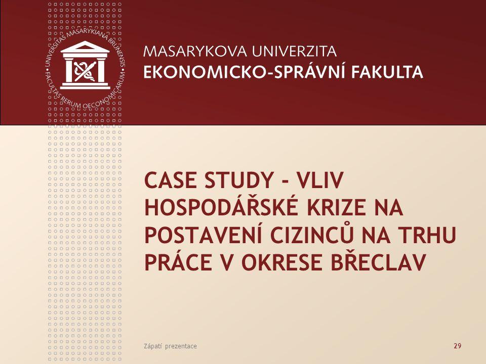 CASE STUDY - VLIV HOSPODÁŘSKÉ KRIZE NA POSTAVENÍ CIZINCŮ NA TRHU PRÁCE V OKRESE BŘECLAV Zápatí prezentace29