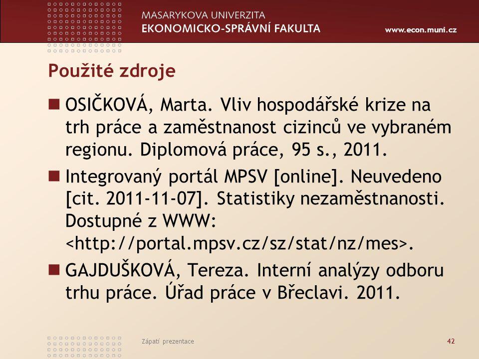 www.econ.muni.cz Použité zdroje OSIČKOVÁ, Marta. Vliv hospodářské krize na trh práce a zaměstnanost cizinců ve vybraném regionu. Diplomová práce, 95 s