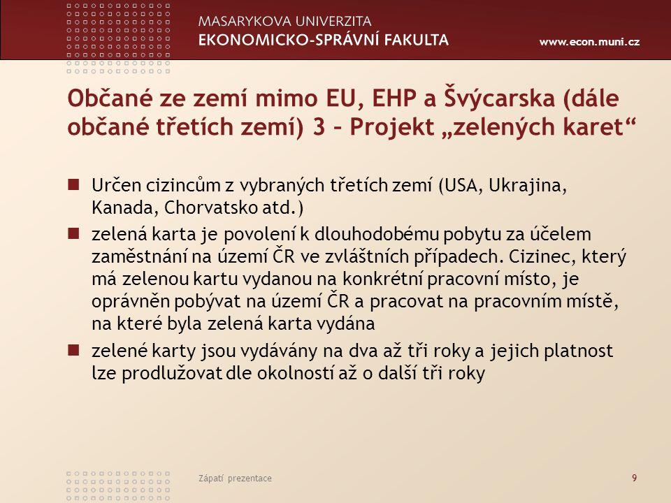 www.econ.muni.cz Postup a povinnosti zaměstnavatele při zaměstnávání cizinců ze třetích zemí 5 Vždy vést evidenci občanů EU/EHP a Švýcarska a jejich rodinných příslušníků a všech cizinců, kteří byli k zaměstnavateli vysláni k výkonu práce zahraničním zaměstnavatelem, nebo je zaměstnavatel sám zaměstnává.