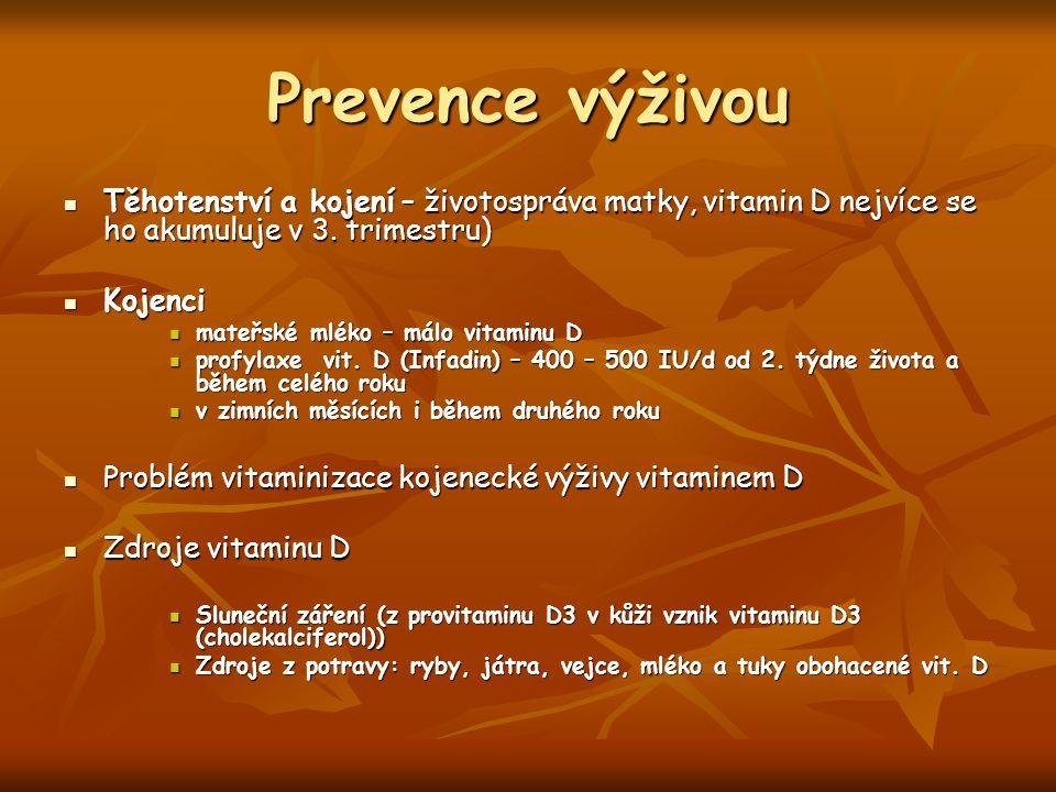 Prevence výživou Těhotenství a kojení – životospráva matky, vitamin D nejvíce se ho akumuluje v 3.