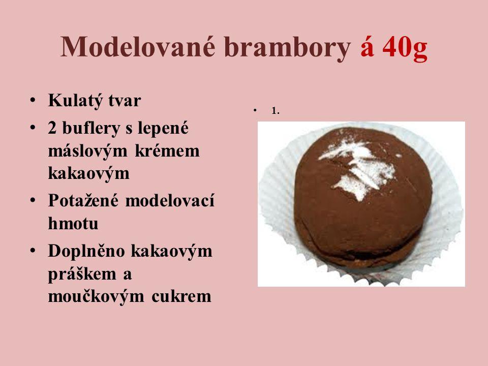 Modelované brambory á 40g Kulatý tvar 2 buflery s lepené máslovým krémem kakaovým Potažené modelovací hmotu Doplněno kakaovým práškem a moučkovým cukrem 1.