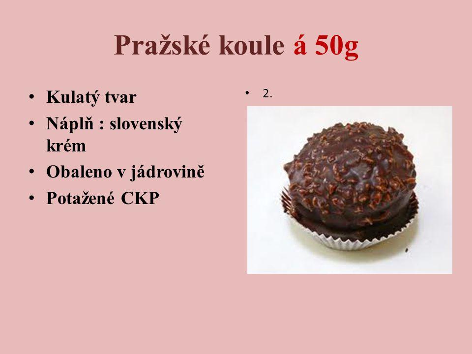 Pražské koule á 50g Kulatý tvar Náplň : slovenský krém Obaleno v jádrovině Potažené CKP 2.