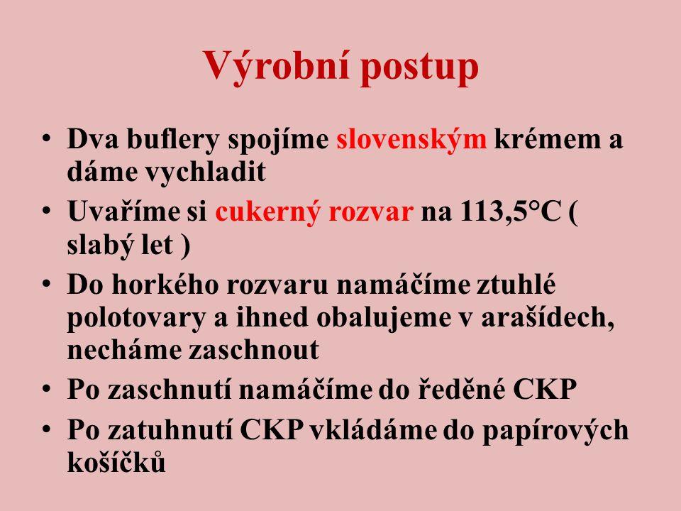 Výrobní postup Dva buflery spojíme slovenským krémem a dáme vychladit Uvaříme si cukerný rozvar na 113,5°C ( slabý let ) Do horkého rozvaru namáčíme ztuhlé polotovary a ihned obalujeme v arašídech, necháme zaschnout Po zaschnutí namáčíme do ředěné CKP Po zatuhnutí CKP vkládáme do papírových košíčků