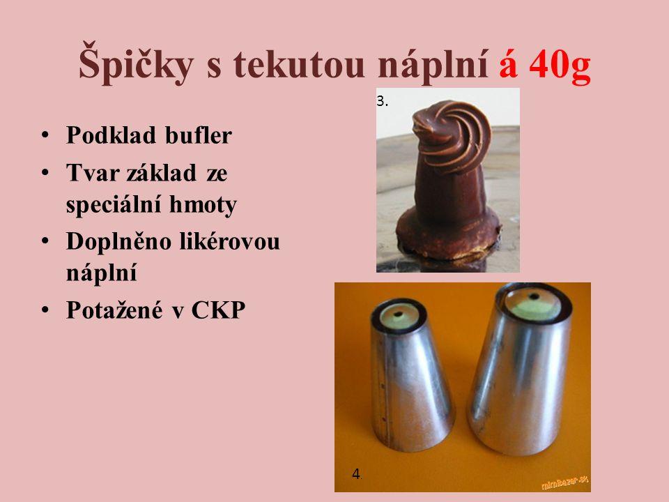 Špičky s tekutou náplní á 40g Podklad bufler Tvar základ ze speciální hmoty Doplněno likérovou náplní Potažené v CKP 4.4.
