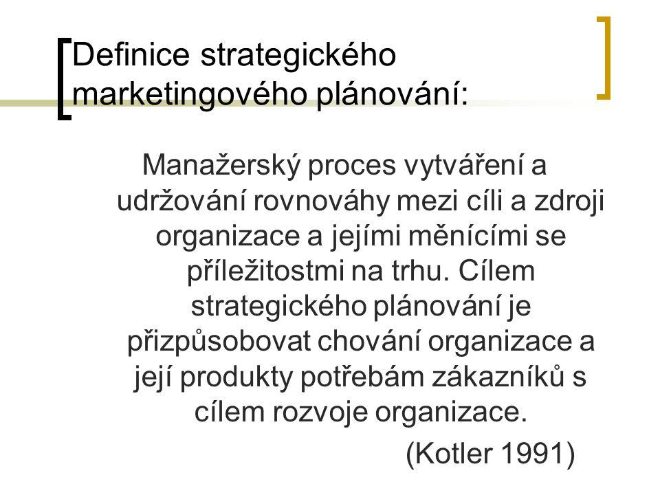 Definice strategického marketingového plánování: Manažerský proces vytváření a udržování rovnováhy mezi cíli a zdroji organizace a jejími měnícími se