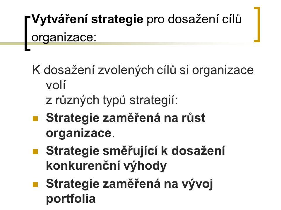 Vytváření strategie pro dosažení cílů organizace: K dosažení zvolených cílů si organizace volí z různých typů strategií: Strategie zaměřená na růst or