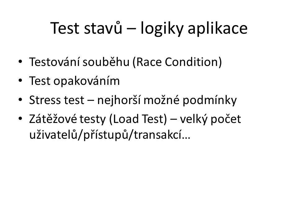 Test stavů – logiky aplikace Testování souběhu (Race Condition) Test opakováním Stress test – nejhorší možné podmínky Zátěžové testy (Load Test) – velký počet uživatelů/přístupů/transakcí…
