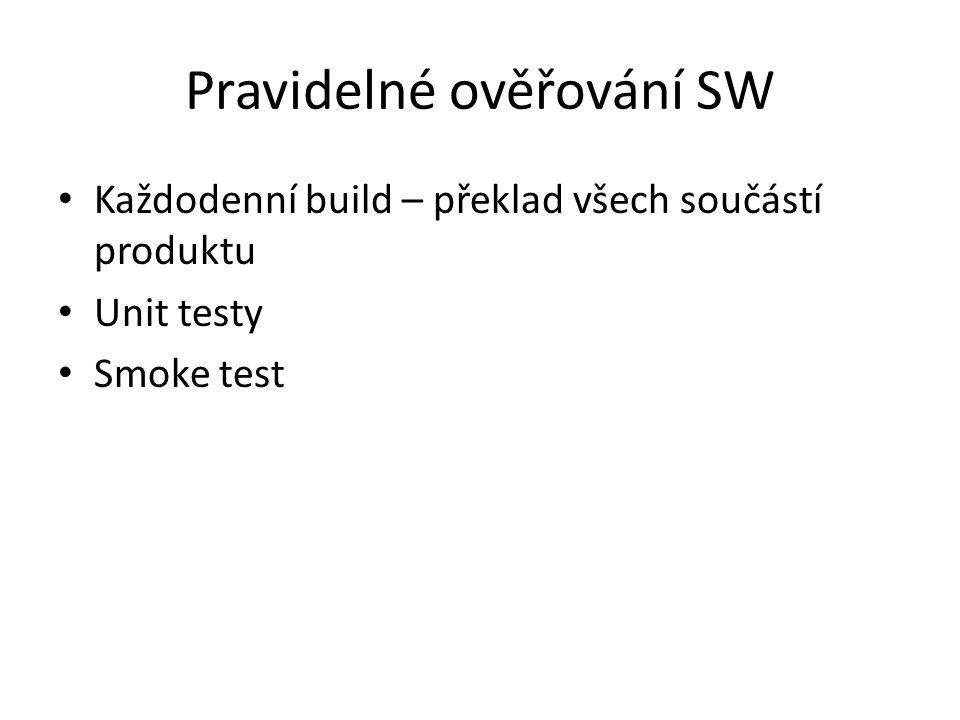 Pravidelné ověřování SW Každodenní build – překlad všech součástí produktu Unit testy Smoke test