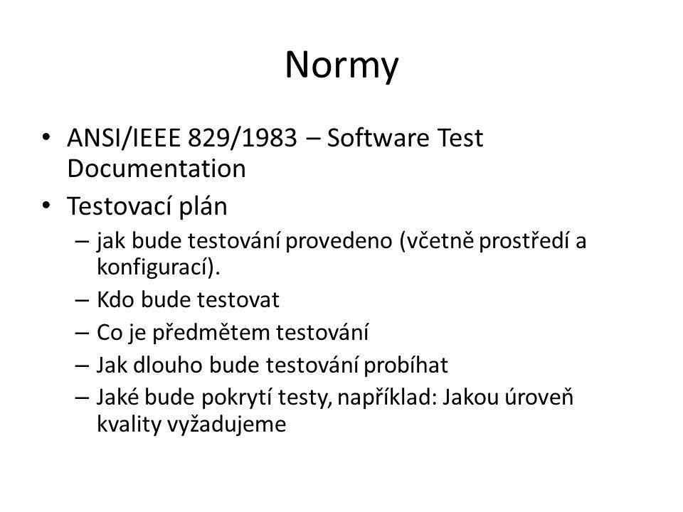Normy ANSI/IEEE 829/1983 – Software Test Documentation Testovací plán – jak bude testování provedeno (včetně prostředí a konfigurací).