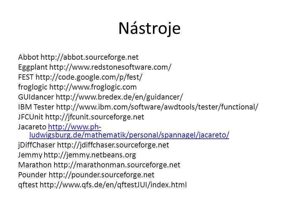 Nástroje Abbot http://abbot.sourceforge.net Eggplant http://www.redstonesoftware.com/ FEST http://code.google.com/p/fest/ froglogic http://www.froglogic.com GUIdancer http://www.bredex.de/en/guidancer/ IBM Tester http://www.ibm.com/software/awdtools/tester/functional/ JFCUnit http://jfcunit.sourceforge.net Jacareto http://www.ph- ludwigsburg.de/mathematik/personal/spannagel/jacareto/http://www.ph- ludwigsburg.de/mathematik/personal/spannagel/jacareto/ jDiffChaser http://jdiffchaser.sourceforge.net Jemmy http://jemmy.netbeans.org Marathon http://marathonman.sourceforge.net Pounder http://pounder.sourceforge.net qftest http://www.qfs.de/en/qftestJUI/index.html