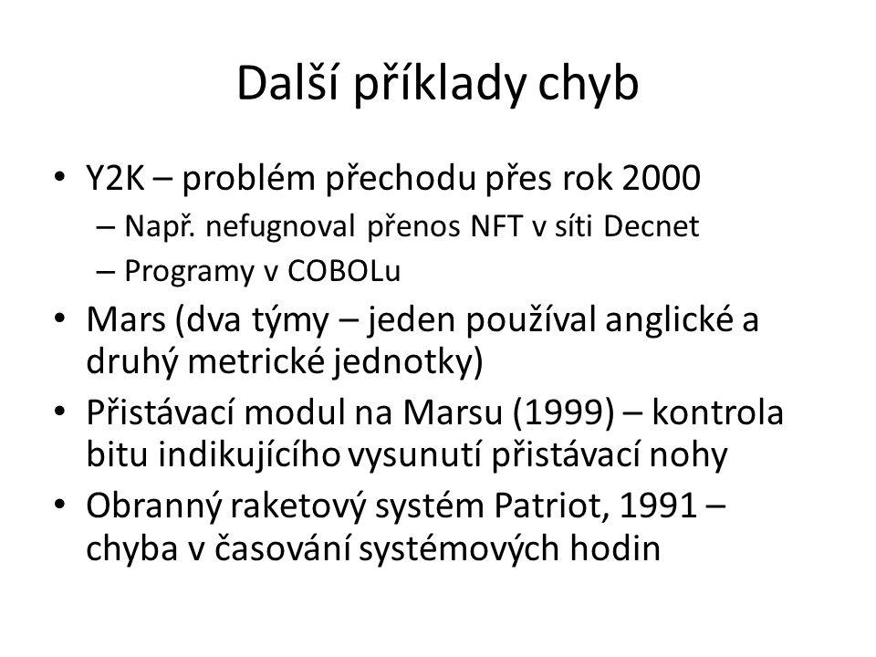 Další příklady chyb Y2K – problém přechodu přes rok 2000 – Např.