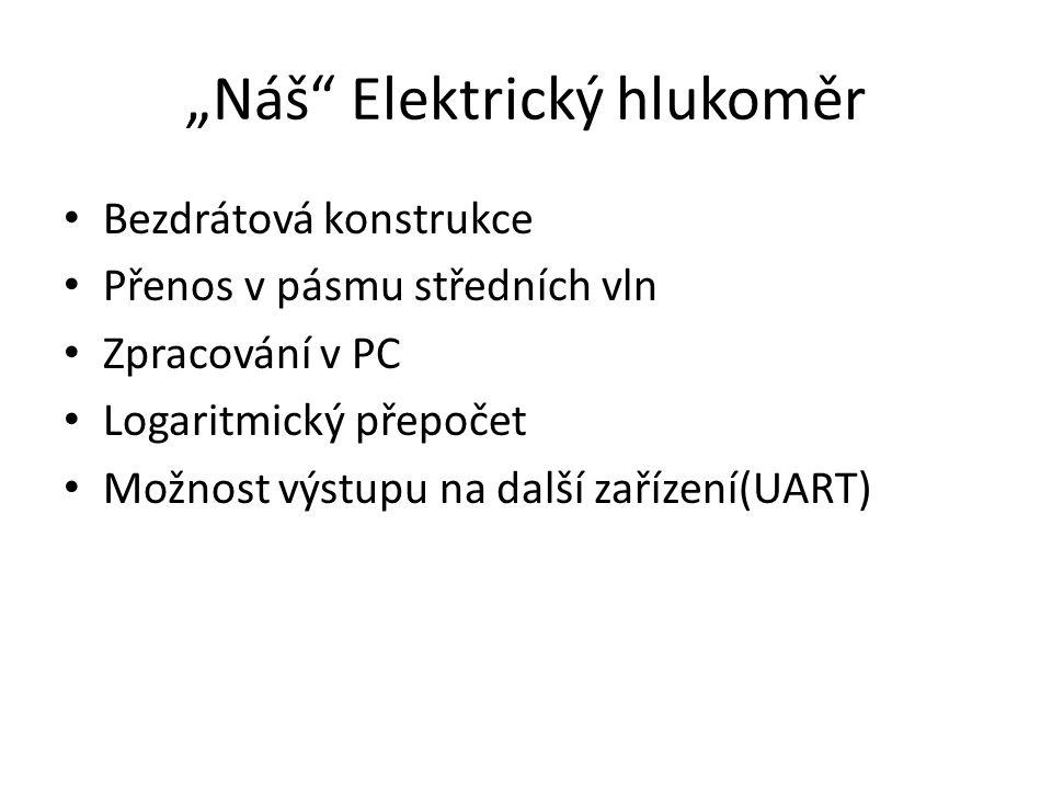 """""""Náš"""" Elektrický hlukoměr Bezdrátová konstrukce Přenos v pásmu středních vln Zpracování v PC Logaritmický přepočet Možnost výstupu na další zařízení(U"""