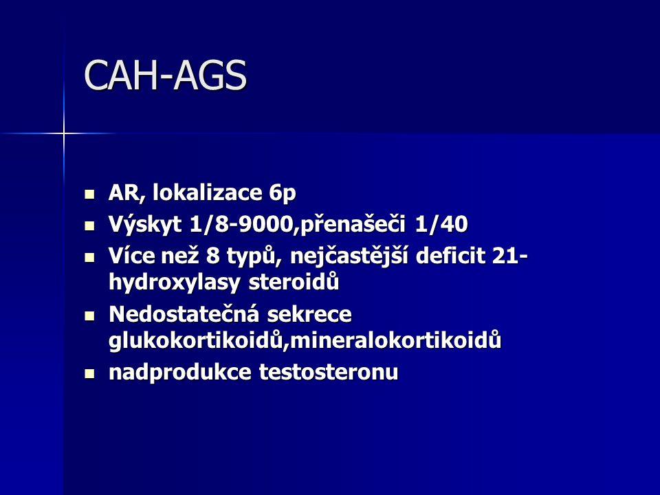 CAH-AGS AR, lokalizace 6p AR, lokalizace 6p Výskyt 1/8-9000,přenašeči 1/40 Výskyt 1/8-9000,přenašeči 1/40 Více než 8 typů, nejčastější deficit 21- hydroxylasy steroidů Více než 8 typů, nejčastější deficit 21- hydroxylasy steroidů Nedostatečná sekrece glukokortikoidů,mineralokortikoidů Nedostatečná sekrece glukokortikoidů,mineralokortikoidů nadprodukce testosteronu nadprodukce testosteronu