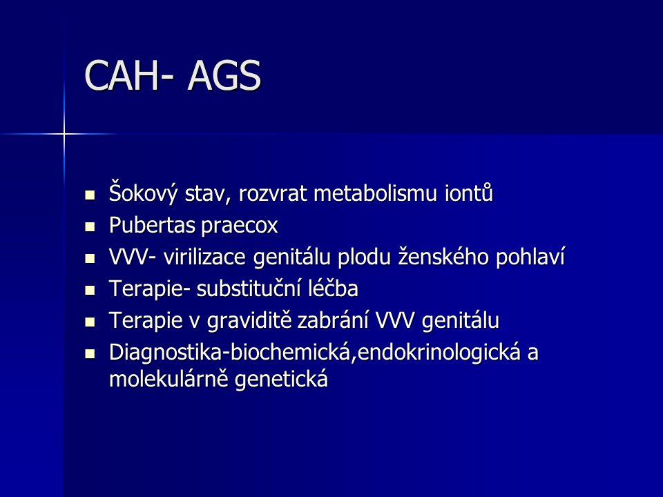 CAH- AGS Šokový stav, rozvrat metabolismu iontů Šokový stav, rozvrat metabolismu iontů Pubertas praecox Pubertas praecox VVV- virilizace genitálu plodu ženského pohlaví VVV- virilizace genitálu plodu ženského pohlaví Terapie- substituční léčba Terapie- substituční léčba Terapie v graviditě zabrání VVV genitálu Terapie v graviditě zabrání VVV genitálu Diagnostika-biochemická,endokrinologická a molekulárně genetická Diagnostika-biochemická,endokrinologická a molekulárně genetická