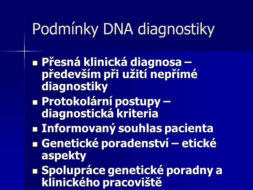 Podmínky DNA diagnostiky Přesná klinická diagnosa – především při užití nepřímé diagnostiky Přesná klinická diagnosa – především při užití nepřímé diagnostiky Protokolární postupy – diagnostická kriteria Protokolární postupy – diagnostická kriteria Informovaný souhlas pacienta Informovaný souhlas pacienta Genetické poradenství – etické aspekty Genetické poradenství – etické aspekty Spolupráce genetické poradny a klinického pracoviště Spolupráce genetické poradny a klinického pracoviště