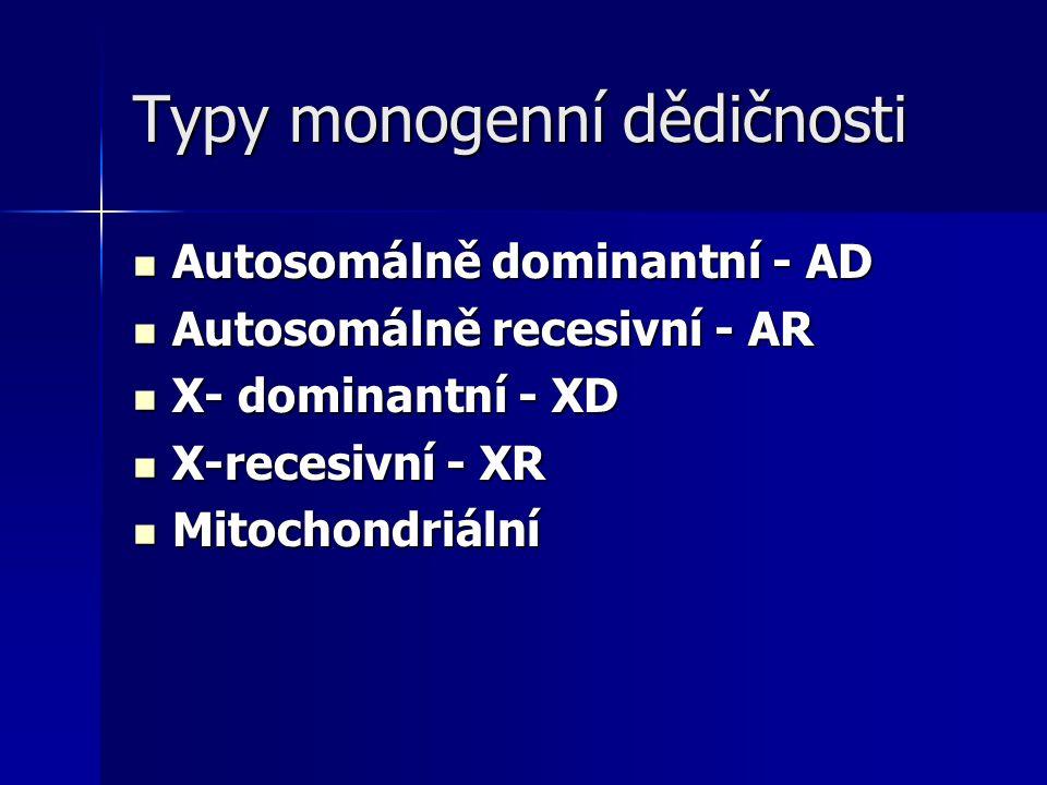 Typy monogenní dědičnosti Autosomálně dominantní - AD Autosomálně dominantní - AD Autosomálně recesivní - AR Autosomálně recesivní - AR X- dominantní - XD X- dominantní - XD X-recesivní - XR X-recesivní - XR Mitochondriální Mitochondriální