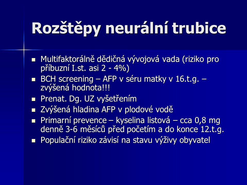 Rozštěpy neurální trubice Multifaktorálně dědičná vývojová vada (riziko pro příbuzní I.st.