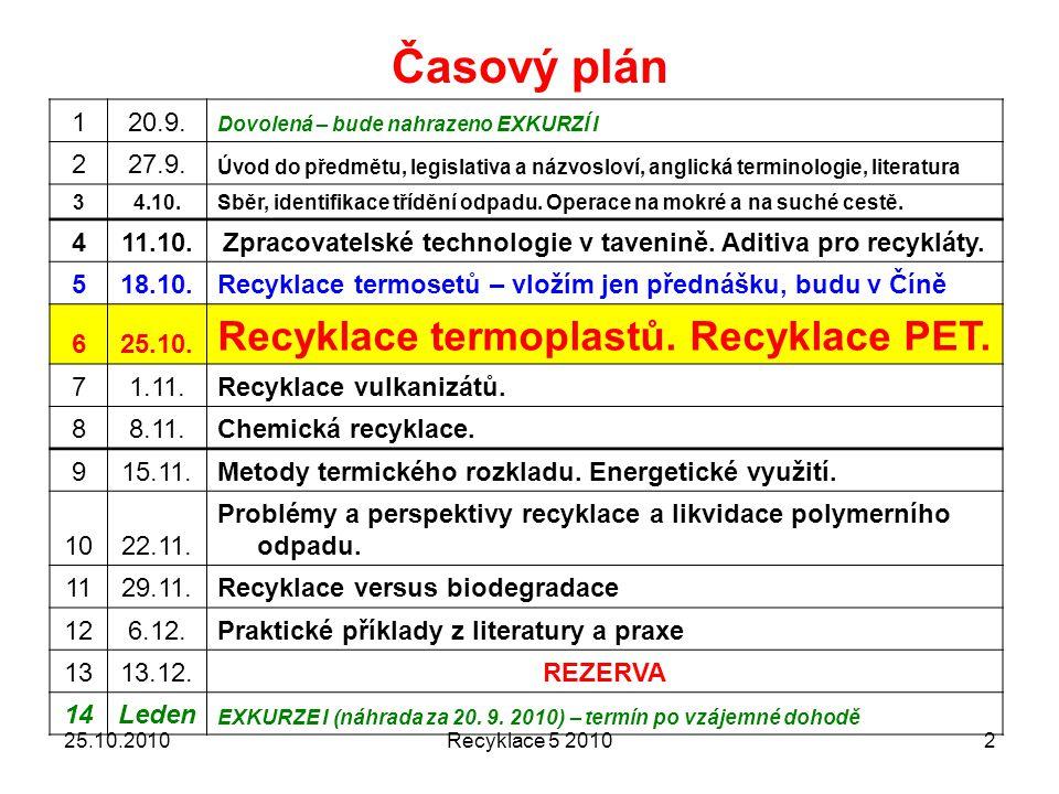 Recyklace 5 20102 Časový plán 120.9.Dovolená – bude nahrazeno EXKURZÍ I 227.9.