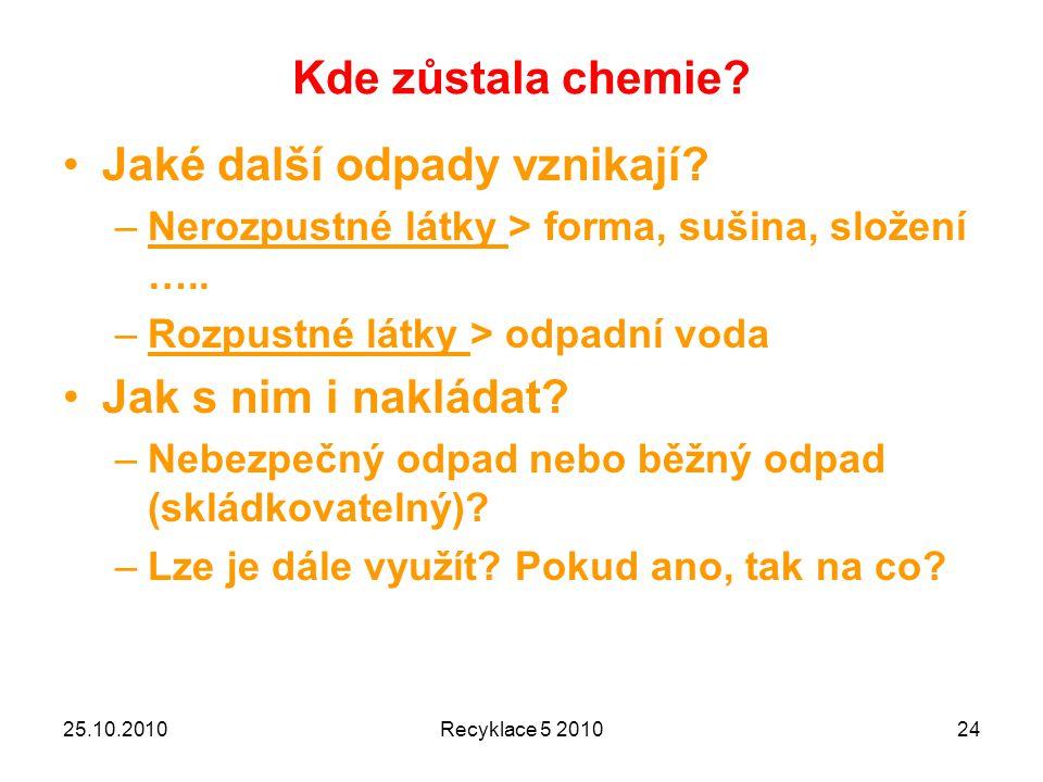 Kde zůstala chemie.Jaké další odpady vznikají. –Nerozpustné látky > forma, sušina, složení …..