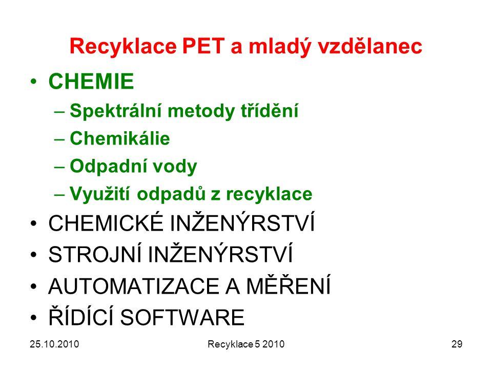 Recyklace PET a mladý vzdělanec CHEMIE –Spektrální metody třídění –Chemikálie –Odpadní vody –Využití odpadů z recyklace CHEMICKÉ INŽENÝRSTVÍ STROJNÍ INŽENÝRSTVÍ AUTOMATIZACE A MĚŘENÍ ŘÍDÍCÍ SOFTWARE 25.10.2010Recyklace 5 201029