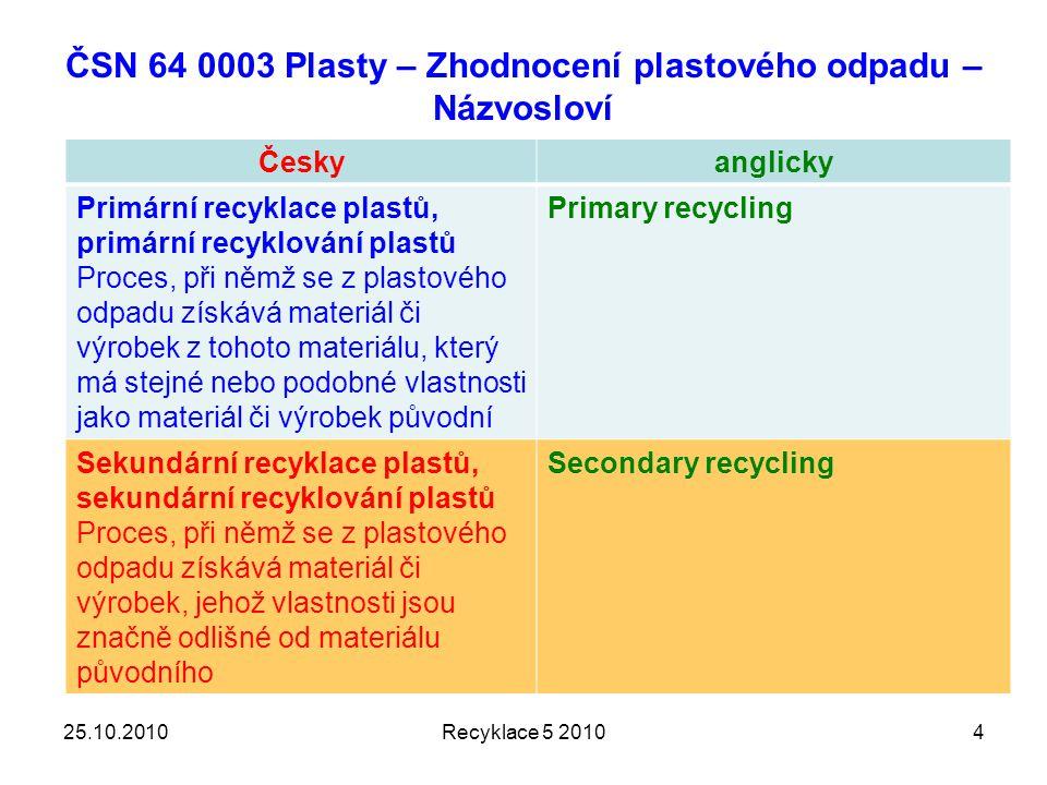 ČSN 64 0003 Plasty – Zhodnocení plastového odpadu – Názvosloví Českyanglicky Primární recyklace plastů, primární recyklování plastů Proces, při němž se z plastového odpadu získává materiál či výrobek z tohoto materiálu, který má stejné nebo podobné vlastnosti jako materiál či výrobek původní Primary recycling Sekundární recyklace plastů, sekundární recyklování plastů Proces, při němž se z plastového odpadu získává materiál či výrobek, jehož vlastnosti jsou značně odlišné od materiálu původního Secondary recycling Recyklace 5 2010425.10.2010