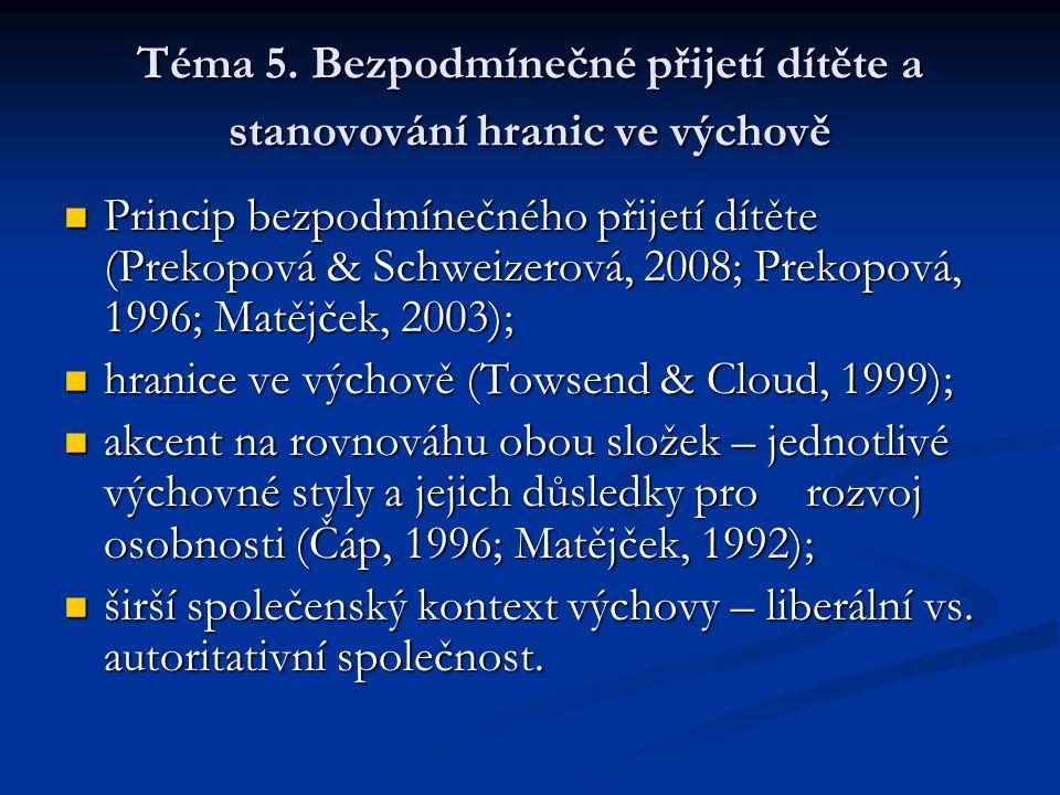 Téma 5. Bezpodmínečné přijetí dítěte a stanovování hranic ve výchově Princip bezpodmínečného přijetí dítěte (Prekopová & Schweizerová, 2008; Prekopová