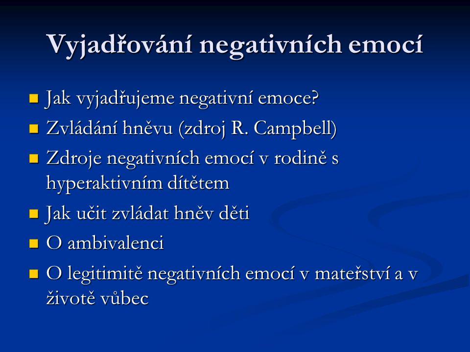 Vyjadřování negativních emocí Jak vyjadřujeme negativní emoce? Jak vyjadřujeme negativní emoce? Zvládání hněvu (zdroj R. Campbell) Zvládání hněvu (zdr