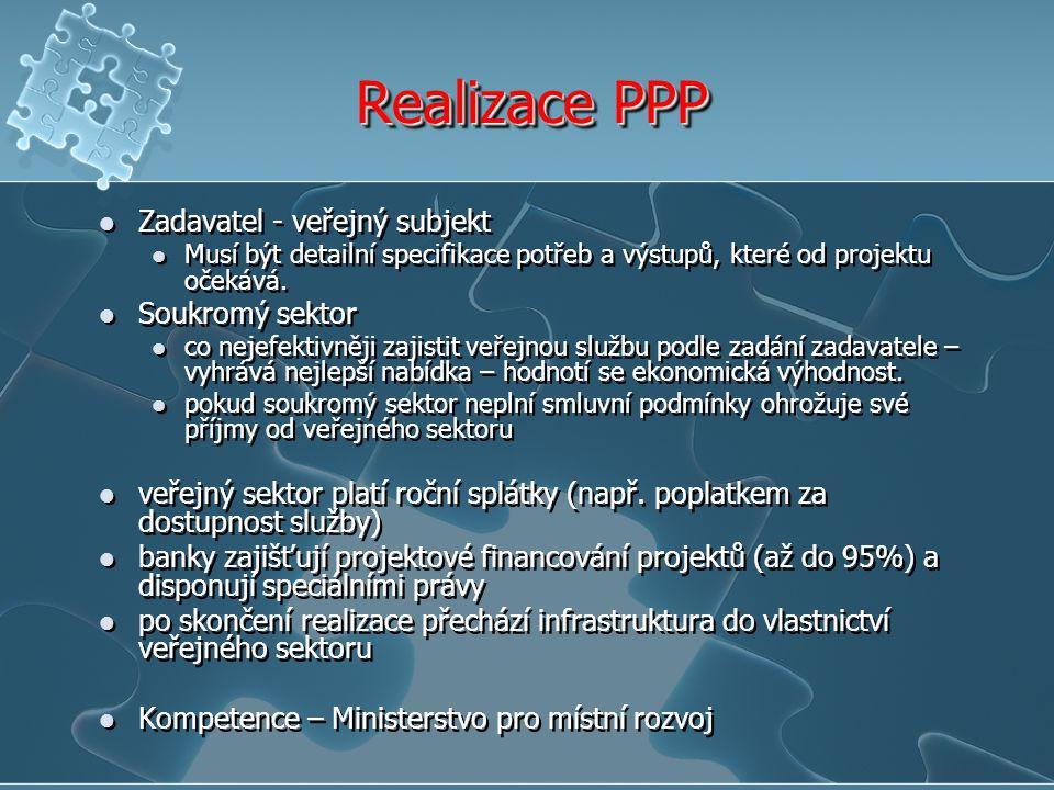 Realizace PPP Zadavatel - veřejný subjekt Musí být detailní specifikace potřeb a výstupů, které od projektu očekává. Soukromý sektor co nejefektivněji